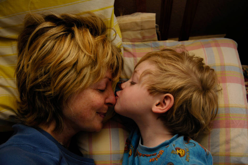 Photo: A mother and son early in the morning.