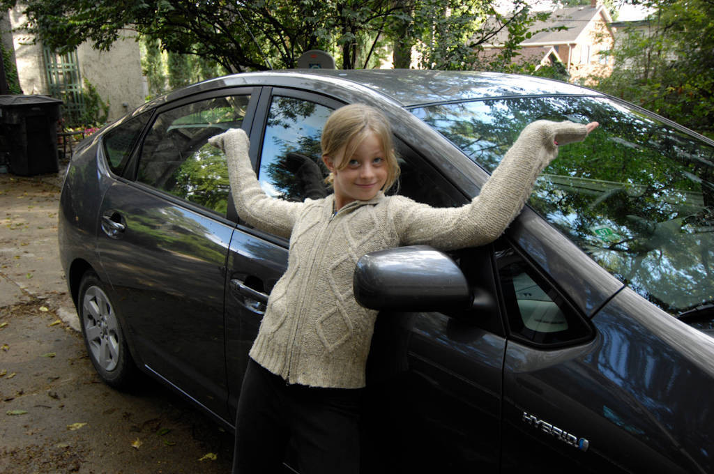 Photo: A 10-year-old expresses her love for fuel efficient hybrid cars.