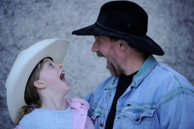 Photo: An 11-year-old cowgirl and her father.