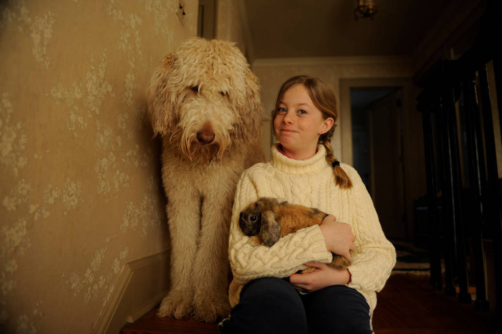 Photo: An 11-year-old girl with her pet bunny and dog.
