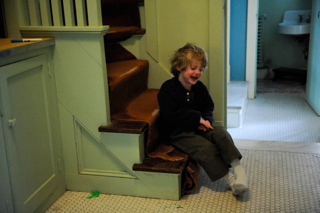 Photo: A 4-year-old boy cries as he sits in 'Time Out.'