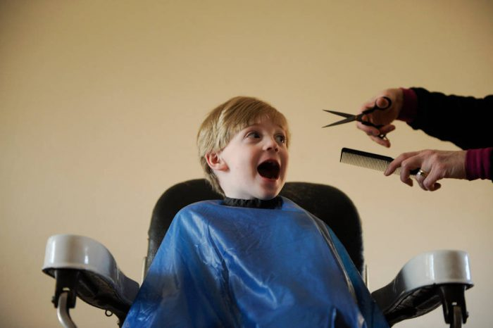 Photo: A 4-year-old gets his a haircut.