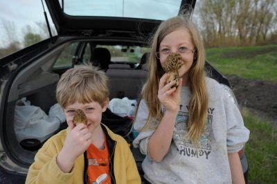 Photo: A brother and sister after a mushroom hunting trip in southeast Nebraska.