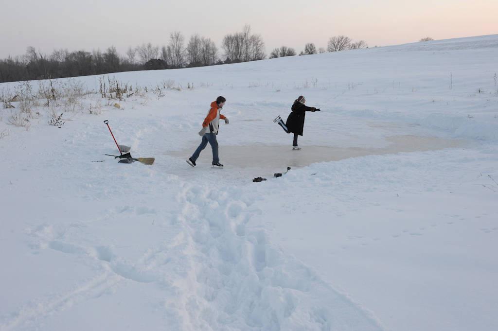 Photo: Ice skating on a farm pond in southeastern Nebraska.
