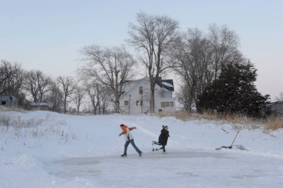 Photo: Ice skating on a farm pond in southeastern Nebraska.
