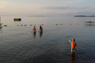 Photo: Swimming at Leech Lake Minnesota at Trader's Bay Lodge.