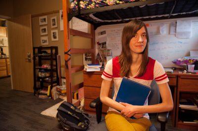 Photo: A freshman college student in her college dorm room in Lincoln, Nebraska.