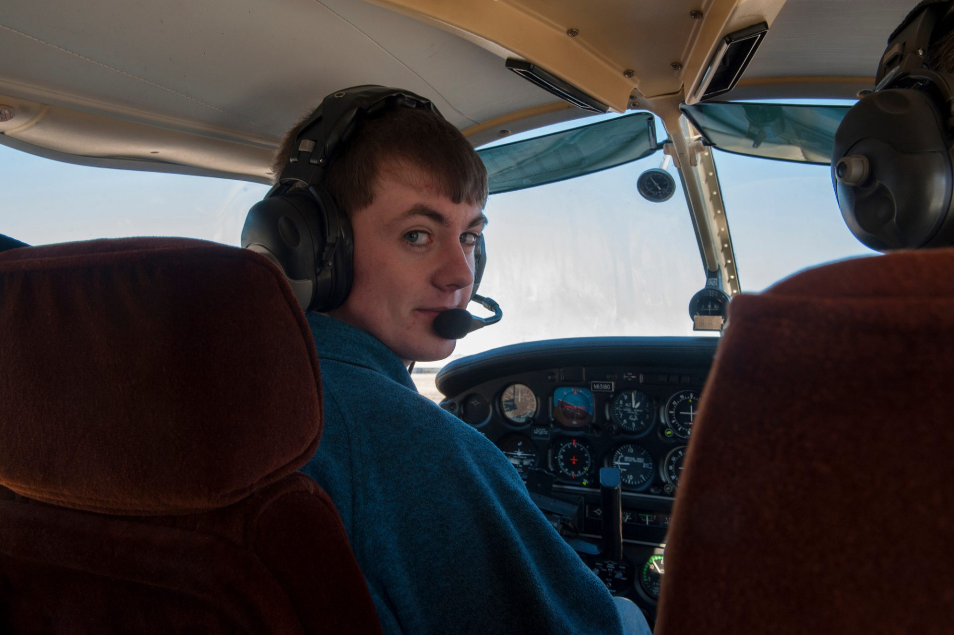 Photo: A teenage boy takes a student flight in a single engine aircraft in Lincoln, Nebraska.