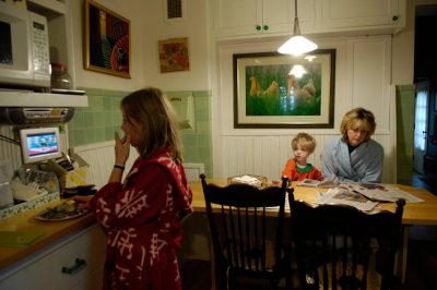 Photo: A family eats breakfast in their home in Lincoln, NE.
