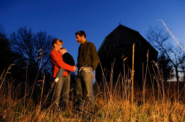 Photo: A family stands for their night portrait at Thornhill Farm near Princeton, NE.