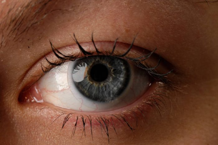 Photo: A close-up of a woman's eye.