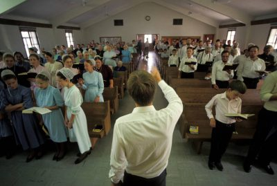 Photo: A Mennonite worship service in Partridge, KS.