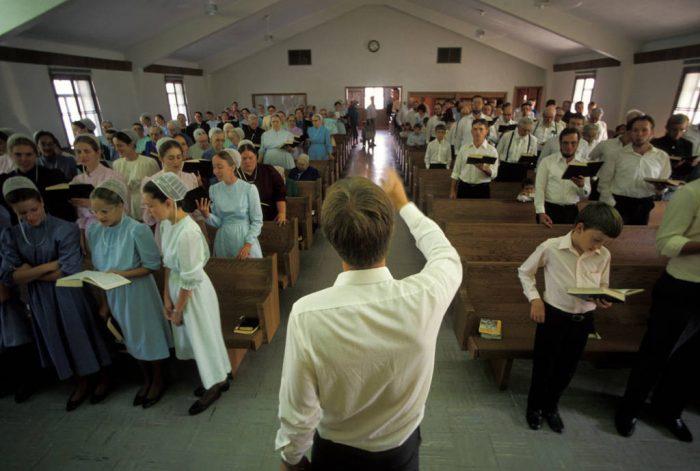 Photo: A Mennonite worship service in Partridge, KS.