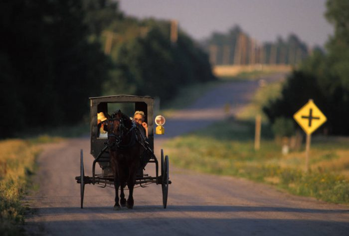 Photo: A Mennonite couple in a horse-drawn buggy near Partridge, KS.