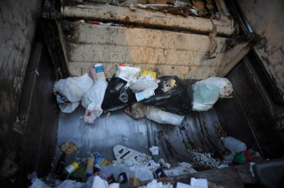Photo: The inside of a garbage truck in Lincoln, Nebraska.