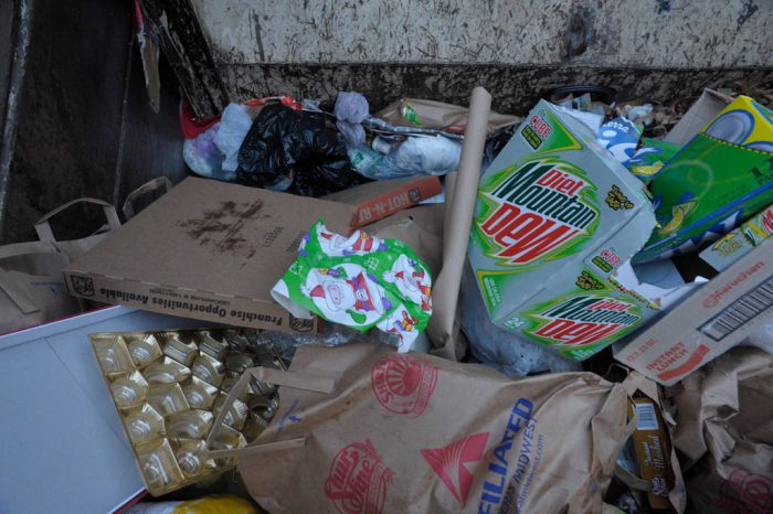Photo: The inside of a garbage truck after the Christmas holiday in Lincoln, Nebraska.