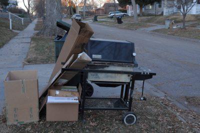 Photo: Garbage waiting for pick-up in Lincoln, Nebraska.