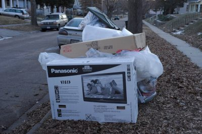 Photo: Garbage waiting for pick-up in Lincoln, Nebraska.