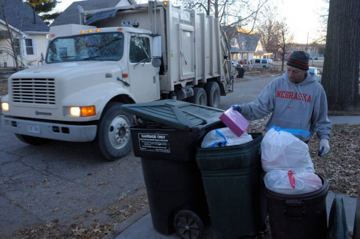 Photo: A garbage truck makes post-Christmas collections in Lincoln, Nebraska.