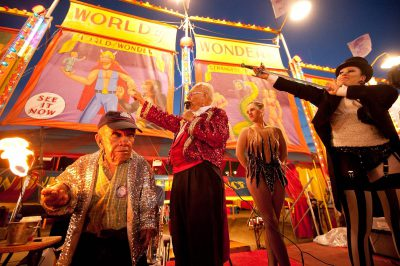 Photo: The World of Wonders sideshow at the Minnesota State Fair features a bally girl, sword swallower and a fire eater, among other amazing attractions.