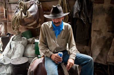 Photo: A cowboy relaxes at a pack station at Kings Canyon National Park's Sixty Lakes Basin.