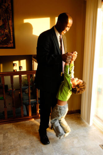 Photo: A father and son play together in their home in Lincoln, Nebraska.