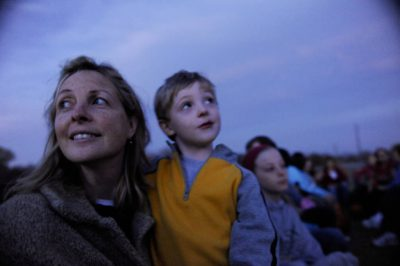 Photo: A mother and son on a hayrack ride at Roca Berry Farm in Roca, NE.