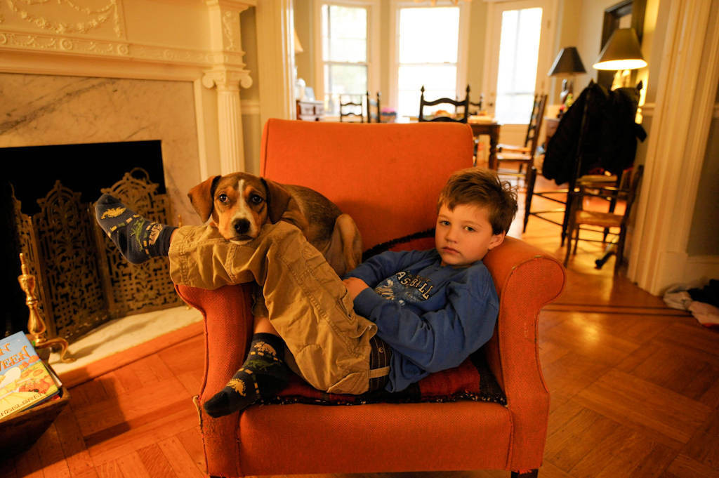 Photo: A boy sits with his dog next to him in the living room of his home in Washington D.C.