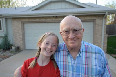 Photo: A grandfather and his granddaughter in Elkhorn, Nebraska.