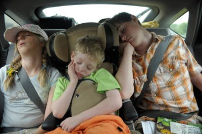 Photo: Siblings asleep in the car on the way home from an outing.