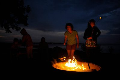 Photo: Campfire scene along the shore of Leech Lake near Walker, MN.