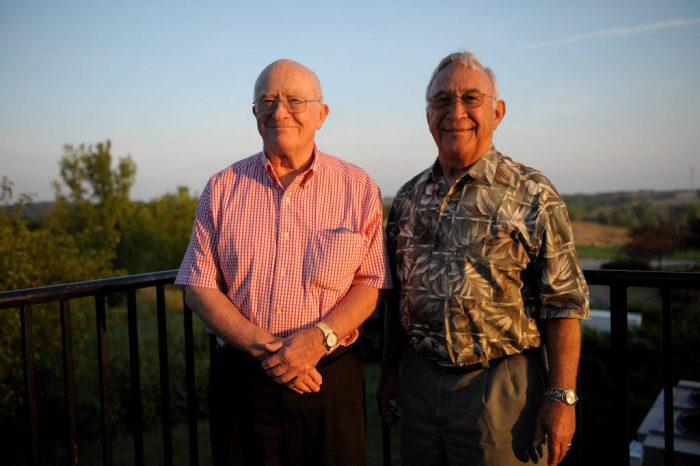 Photo: Two senior men at Mahoney State Park in Nebraska.