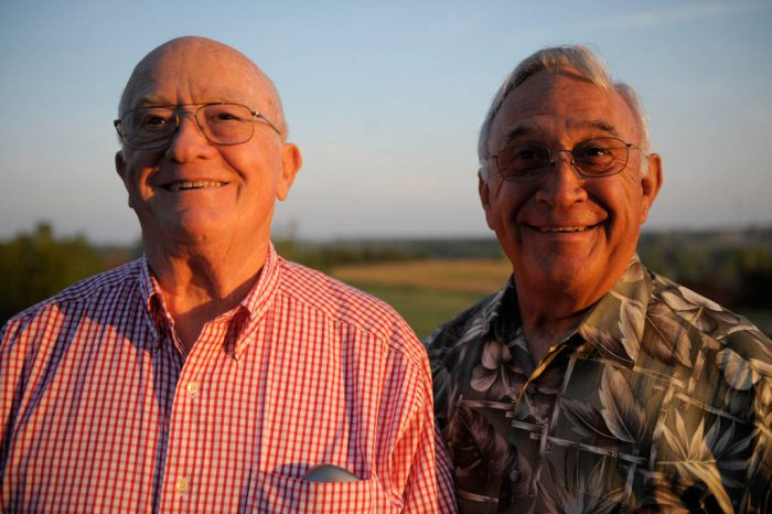 Photo: Two senior men at Mahoney State Park in Nebraska.