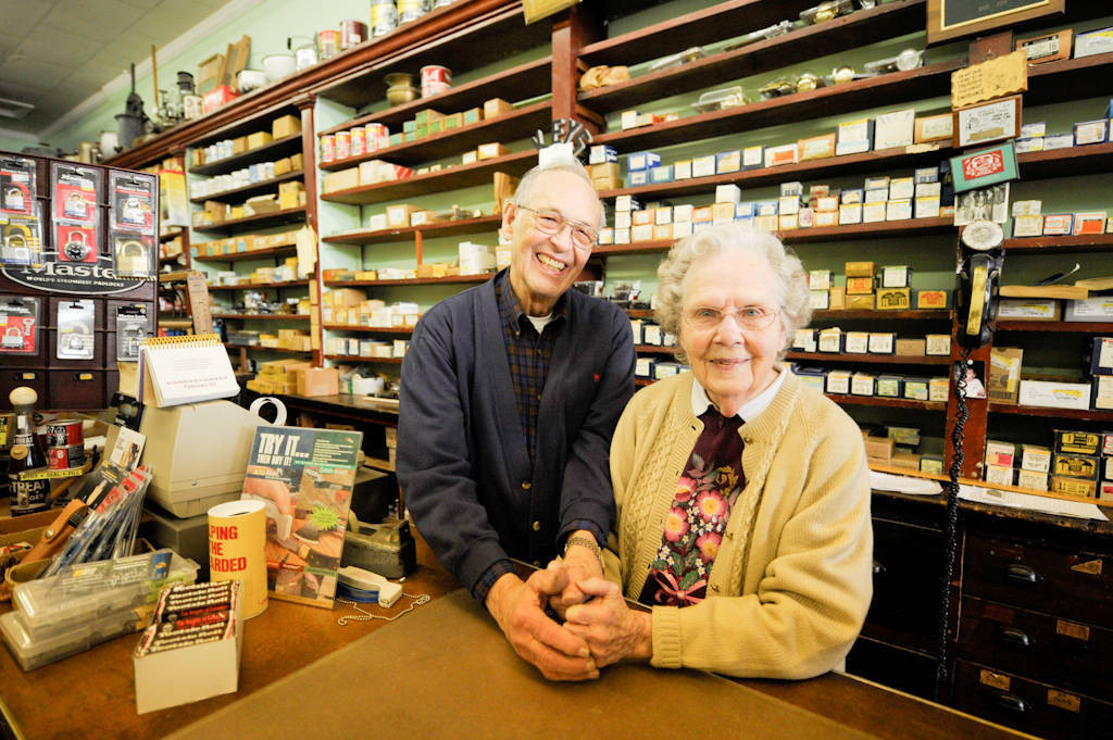 Photo: A senior couple at the hardware store they own in Nebraska City.