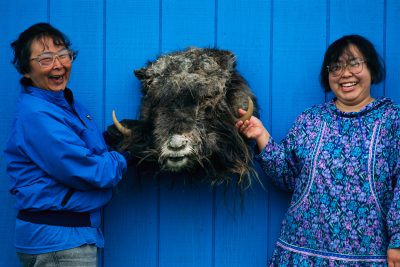Photo: A mother and daughter display the head of a recently killed musk ox on Nunivak Island, Alaska.