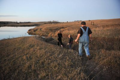 Photo: A family outing in a pasture near Valparaiso, Nebraska.