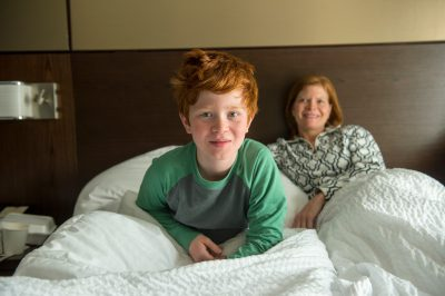 Photo: Portrait of a mother and elementary age son.