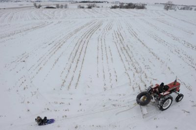Photo: Tractor sled rides on a farm in Nebraska.