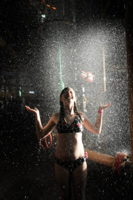 Photo: A girl basks in spraying water at the Great Wolf Lodge indoor water park in Kansas City, Kansas.