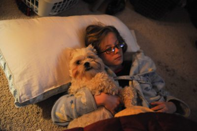 Photo: A girl and her Shih-tzu dog, Baxter.