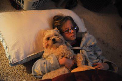 Photo: A girl and her Shih-tzu dog, Baxter.