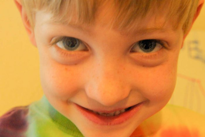 Photo: Close-up portrait of a young boy in Lincoln, Nebraska.