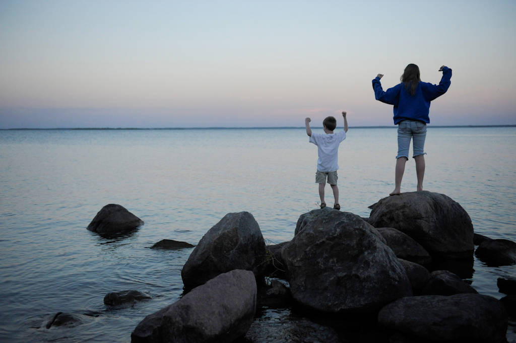 Photo: A brother and sister at Stony Point Park, near Walker, Minnesota.