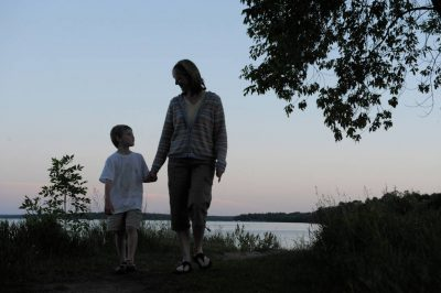 Photo: A mother and her son at Stony Point Park, near Walker, Minnesota.