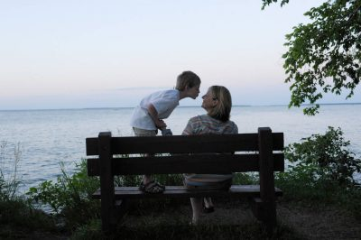 Photo: A mother and son at Stony Point Park, near Walker, Minnesota.