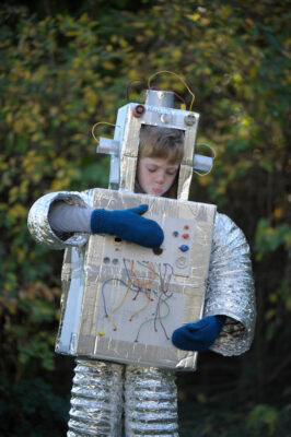 Photo: A seven year old boy in his robot Halloween costume made by his mother at his home in Lincoln, Nebraska.