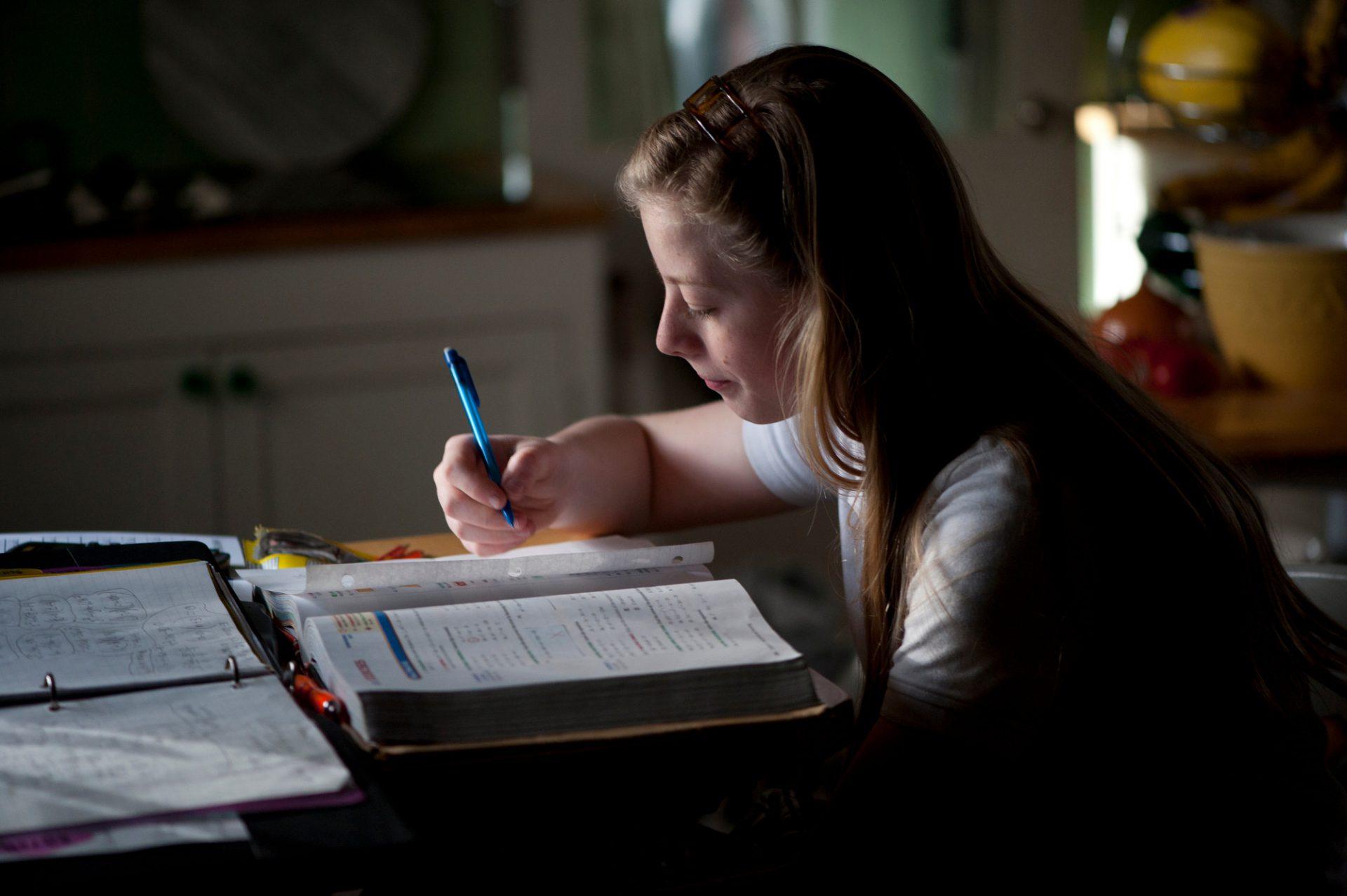Photo: A teenage girl does her homework.