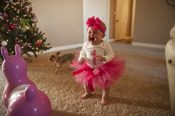 Photo: A baby girl cries.