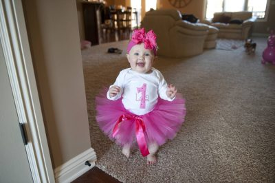 Photo: An animated baby girl