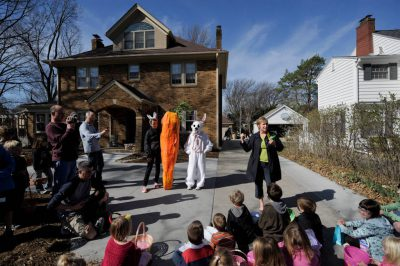 Photo: Children sit patiently for an Easter egg hunt at a house in Lincoln, Nebraska.